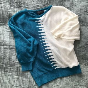 Beautiful teal and cream knit top